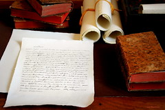 Madame... (overthemoon) Tags: france writing handwriting desk interior books parchment rolls château voltaire ferneyvoltaire 1j1t
