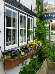 Turville (Jackie_Emm) Tags: tv village pansy location tulip bucks flowerbox tvlocation turville vicarofdibley thebullandbutcher