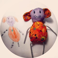 daughter designed toy (A Little Vintage) Tags: pink blue orange motion black bunny green thread face hair doll different purple drawing sewing brooch free bob brooches