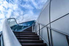 The sky, the stairs and the sphere (Goderic Tia) Tags: blue light sky building nature clouds stairs photography nikon singapore creation sphere fullerton leadinglines tamron1750