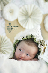 Vintage Ribbons and Lace (reefbubbles) Tags: baby green girl crochet ivory ribbon trim bonnet putabonnetonit