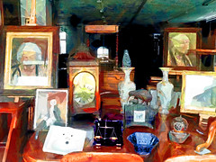 Living in Past Glory (Steve Taylor (Photography)) Tags: city light newzealand christchurch reflection clock window glass shop lady painting table divers sink legs chairs cabinet helmet picture canterbury ceiling scales nz vase southisland balance antiques maori kiwi drawers weighing easel junkshop antiqueshop chestof
