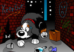 Ripley Scared (RipleyTheDog) Tags: ripley bernesemountaindog webcomic ripleythedog