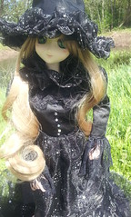 Asuna's first trip outside :3 (PunkBird) Tags: lake black anime green nature eyes doll dress witch victorian dream curls kawaii bjd dollfie obitsu flickrandroidapp:filter=none