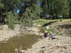 Kids enlarge Sam's dam (spelio) Tags: construction day dam oct opening canberra 11th act cotter 2013