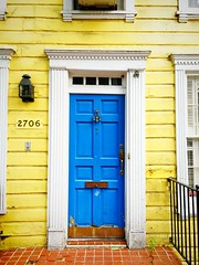 yellow & blue (ekelly80) Tags: dc washingtondc july2016 georgetown door house cute blue yellow colors bright
