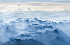 French Alps (maikepiel) Tags: mountains berge alpen alps french layers silhouettes ebenen light licht morning morgens mist nebel blue blau weiss white clouds wolken sky himmel mountainscape