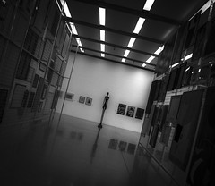 A Dark Figure (alansadgroves) Tags: bw monochrome blackandwhite disturbing mumok vienna indoor
