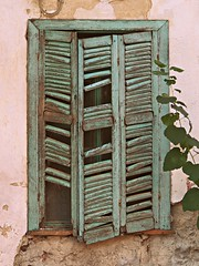 old turquoise window (sunshine lydia) Tags: window old greece greekwindows turquoise colours vintage ruins abandoned house home abandonedhomes