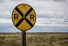 Bowdoin Railroad Crossing (Tony Webster) Tags: bowdoin bowdoinnationalwildliferefuge montana rrcrossing railroad railroadcrossing sign weathered malta unitedstates us