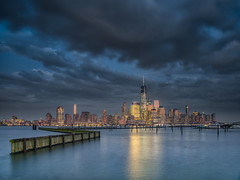 New York Night (vandan desai) Tags: newjersey jerseycity newport nj landscape cityscape evening colors sunset clouds rain overcast sunlight hudson river boats pier manhattan newyork ny nyc