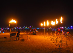 Piazza di Ferro by the Iron Monkeys (michicat) Tags: burningman brc blackrockcity playa nevada burningmanatnight fire fireart