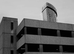 Advantage in height (Andy WXx2009) Tags: buildings artistic tower monochrome blackandwhite birmingham architecture minamalist construction grey modern europe england skyline skyscrapers city cityscape concrete