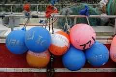 Scenes from the fishing harbor of Sainte-Therese-de-Gasp in Qubec (Ullysses) Tags: saintethrsedegasp gaspesie qubec canada summer t havre harbor bouy fishingboat fishingvessel fishingharbor havredepeche buoyant