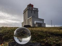 Lighthouse in a ball (katrin glaesmann) Tags: iceland island dyrhlaey lighthouse builtin1927 unterwegsmiticelandtours photographyholidaywithicelandtours vk beach sunset dyrhlaeyjarviti flw10s 1927 coordinates632408n190750w crystalball gekugelt