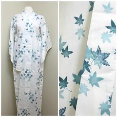 Kimono, Linen Hemp (FurugiStar) Tags: japanese vintage clothing furugistar traditional kimono white green mint turquoise leaf leaves maple hemp linen light yukata folk wear