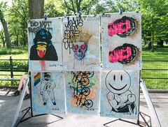 Artwork for Sale (UrbanphotoZ) Tags: artwork silkscreen graffiti map newyorkcity newyork newyorkmap gorilla skull queen crown bicycles astronaut flag gaypride smileyface torso muscles donotresist themall centralpark manhattan nyc ny