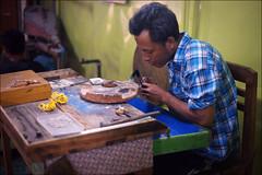 Silversmith (*Kicki*) Tags: myanmar burma inlelake inlaylake inle inlay man person silversmith craftsman people shanstate 50mm workshop specialfish myahintha