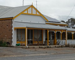 Hallett. An old General Store in a side street now brightly painted as a home. Built about 1910. (denisbin) Tags: hallett masoniclodge townhall institute generalstore shed signage anglican merino strattongate catholic ram
