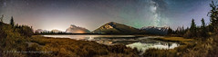 Night Sky Panorama at Vermilion Lakes (Amazing Sky Photography) Tags: autumn banffnationalpark milkyway mountrundle sulphurmountain vermilionlakes airglow lightpollution mountains panorama skyglow