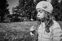 Big wishes (igo.rs) Tags: girl dandelion beauty flower flowers beautiful wish black white child childhood autumn