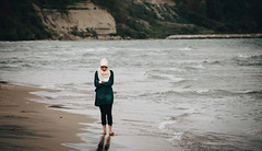 Last Walk (Viv Lynch) Tags: scarborough toronto ontario canada beach beaches shoreline lakeontario surf greatlakes sand water lake bluffs park blufferspark scarboroughbluffs mainbeach autumn 2016 october girl walking stroll barefeet muslim hijab alone solitary