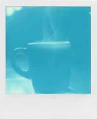 Blue Coffee Steam (LeandroF) Tags: sx70 polaroidsx70sonaronestep cyan blue 600 ndpackfilter cyanograph600 cyanograph coffee morning steam cup mug polaroidweek2016 polaroidweek instantfilm groundworkcoffee blackgold