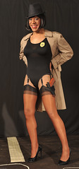 Inspector Kacey! (kaceycd) Tags: crossdress tg tgirl nylon spandex leotard bodysuit stockings nylons rhtstockings ffstockings garters garterbelt suspenderbelt pantyhose pumps highheels stilettopumps stilettoheels sexypumps stilettos s