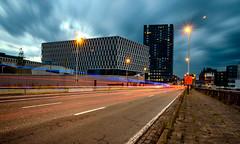 Blue hour (apersyannick) Tags: antwerpen antwerp architecture architecturephotography light trails park spoor noord road lights police