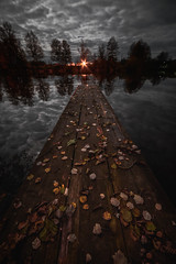 Autumn mood (konstantinkulak) Tags: rural countryside moody pier lake night dark scary ill leaves autumn golden wooden wood water reflection landscape nature sky clouds moon moonlight fullmoon full farm long exposure wide angle