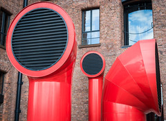 Liverpool - Albert Dock - Funnels (Andrew Hounslea) Tags: windows red england sky cloud black reflection brick clouds liverpool reflections 50mm dock nikon unitedkingdom f14 g albert 14 bricks grill funnels nikkor 50 albertdock funnel merseyside grills d600 f14g