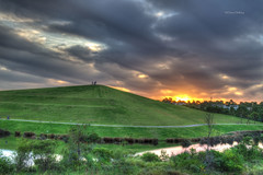 Kronos Hill, Sydney Olympic Park (loobyloo55) Tags: trees sunset orange green water grass canon hill sydney australia hdr sydneyolympicpark