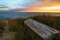 Lonely boat with great view (Threin Ottossen) Tags: boat beach sea seaside shore outdoor landscape seascape sunset sand water srene lolland denmark maglehoej sky serene cloud