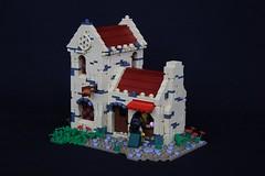 Ellena's Bakery (soccersnyderi) Tags: lego moc castle medieval building creation house shop model wall techique design chimney roof window texture landscape
