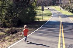 The Runner (Kevin VanEmburgh Photography) Tags: colorgrading street running runner kidrunning twolandroad nc northcarolina van vanimal nephew shadow leadinglines fall