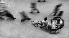 World in motion... (_MaK_) Tags: street monochrome motion ariel perspective rekshaw people candid topview slow shutter dhaka bangladesh bw