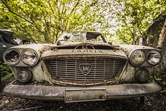 Life is too short to drive boring cars (marco18678) Tags: pixanpictures lost grill headlights broken boring amazing beautiful photography belgium world europe naturallight ue eu lancia car abandoned decayed decay 1530 tamron d750 nikon old urbanexploring urbex