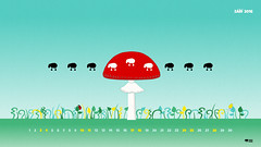 the Black sheep and Toadstool composition (cernaovec) Tags: desktop background wallpaper animals calendar download downloadable illustration sheep black blacksheep toadstool mushroom red sky leaves grass countryside green turquoise minimalist nature