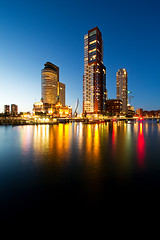 Rotterdam, The Netherlands (Tobias Mnch) Tags: rotterdam netherlands nederland europe city urban night nightshot skyline skyscraper highrise wilhelminapier kopvanzuid nieuwemaas river water reflection worldportcenter montevideo neworleans normanfoster fosterpartners