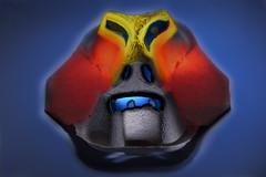 33/116 Alien (PaulE1959) Tags: 33116alien lightpaint stacked alien face mask carton tray yellow red blue light scary nikon d5200