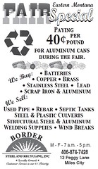 Border Steel & Recycling, Miles City (dave_mcmt) Tags: milescity miles city montana mt bordersteelrecycling bordersteel borderrecycling milescitystar advertisement newspaper newspaperadvertisement newspaperad ad