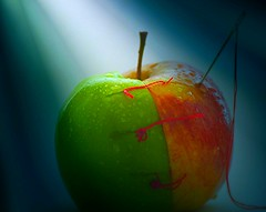 I hate two-faced people. I can never decide which side to slap first. (natus.) Tags: apple twofaced waterdrops macro needle seam sewing workart green red fruits food