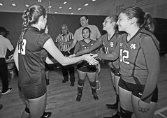 IMG_9493 (SJH Foto) Tags: girls volleyball high school mount olive mt team tween teen teenager varsity tamron 1024mm f3545 superwide lens pregame ceremonies ref referee captains coin toss handshake black white blackandwhite bw monocolour