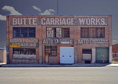 Butte Carriage Works (Patinagal) Tags: facade typography brick windows signage ghost relic history sign