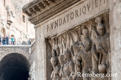 Rome, Italy- Close up of reliefs on The Arch of Constantine, located east of the Roman Forum. This commemorative structure is the largest surviving Roman triumphal arch and was dedicated to Roman Emperor Constantine after he was victorious during the batt (Remsberg Photos) Tags: europe italy rome ancient ancientcivilization roman architecture buitstructure tourist sightseeing photography history historical internationallandmark capitolcity romaprovince ancientrome art fights combat entertainment romanpeople emperor constantine victory arch commemorate triumphalarch imperialrome relief carving ita