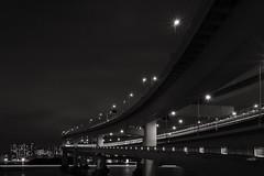 Layers of Lights (elenaleong) Tags: rainbowbridge layersoftrails boattrails traffictrails traintrails tokyobay elenaleong odaiba minato