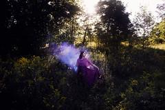 Lady of the Meadow (LaRuephotography) Tags: larue nature woman fairytale mythology smoke clouds purple dress meadow tree trees whimsical mystical myth mythical