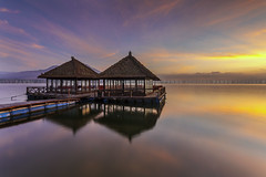Calmness of Lake Batur (Pandu Adnyana Photography Tour) Tags: baliphotographytour baliphotographyguide balitravelphotography balilandscapephotography balilandscapetour balitour bali guide travel tour indonesia batur lake mountain fisherman boat sunrise