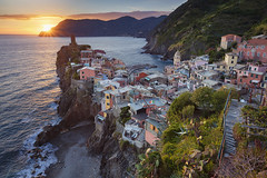 Vernazza. (Rudi1976) Tags: vernazza cinqueterre traveldestinations italy mediterraneancountries liguria coastline mediterraneansea cityscape sunset famousplace harbor europe village dusk watersedge architecture rockycoastline highangleview travel tourism liguriansea fishingvillage twilight colorimage locallandmark nationallandmark outdoors horizontal unesco