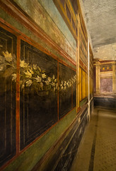 Garland of the Mysteries (buddythunder) Tags: travel 2016 europe italy pompeii wideangle fresco garland white flowers leadin perspective inside villa roman colourful ancient